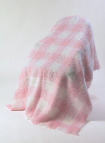 Candy floss pink and white checked mohair chair throw