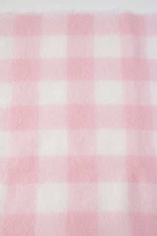 Image of Candy floss pink and white check mohair throw blanket