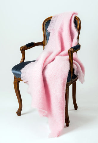 Candy Floss Pink Mohair Chair Throw