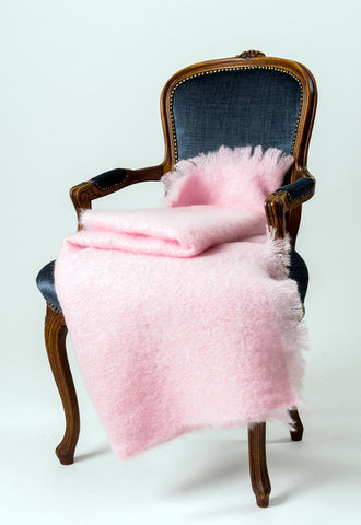 Candy Floss Pink Mohair Throw Blanket