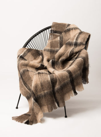 Image of Windermere Canterbury Check Brushed Alpaca Throw Blanket