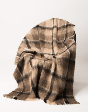 Alpaca Blanket Australia - Windermere Canterbury Check Brushed Alpaca Throw Blanket