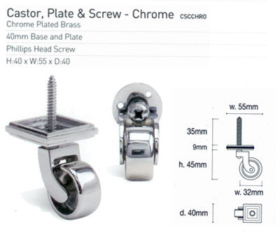Caster Wheels 4.5cm - Silver Chrome