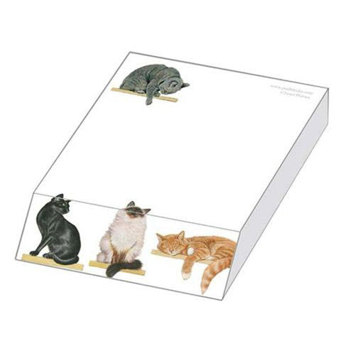 Cats on Shelves Slanted Note Pad