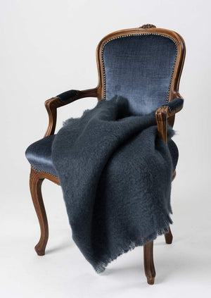 Windermere Charcoal Grey Mohair Chair Throw
