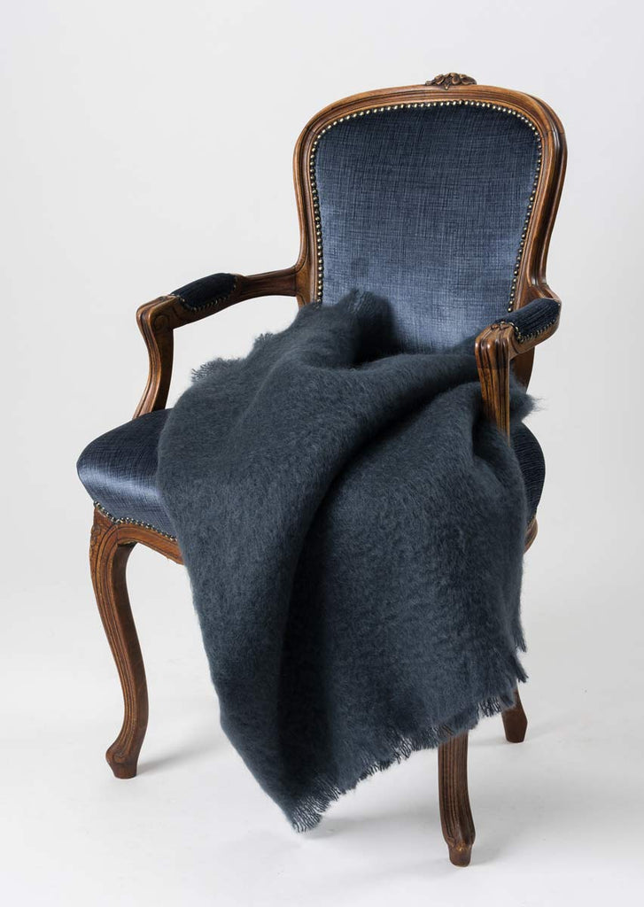 Windermere Charcoal Grey Mohair Throw Blanket