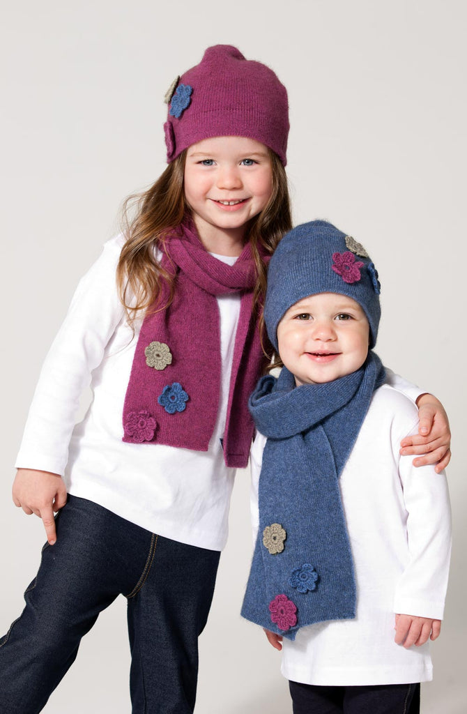 Kids Flower Hat or Scarf in Possum & Merino Wool