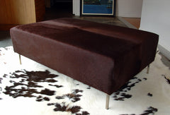 Cowhide Ottoman with Straight Legs 130x70x40cm