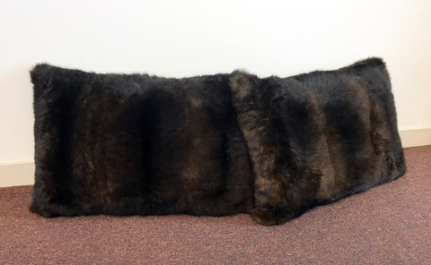 Possum fur cushion NZ large chocolate brown