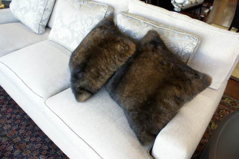 Possum fur cushion NZ chocolate brown