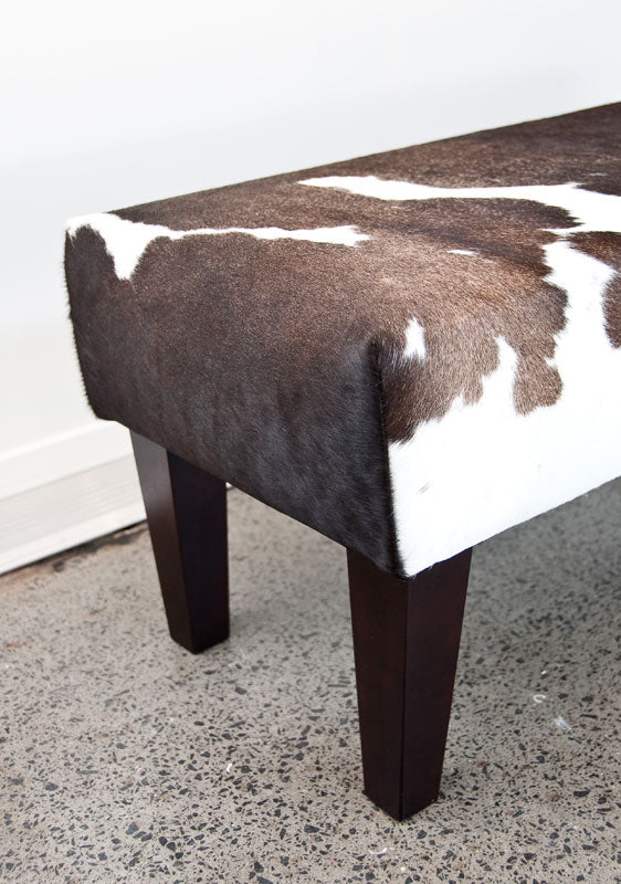 Cowhide Bench Seat #1 with Wood Legs 110x38x38cm