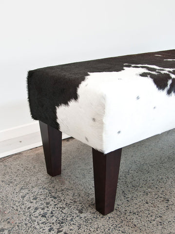 Image of Cowhide Bench Seat #2 with Wood Legs 110x38x38cm