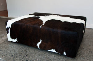 Cowhide Ottoman Deep with Low Wood Legs 114x92x38cm