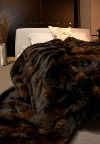 Image of NZ Made Chocolate Brown Possum Fur Blanket