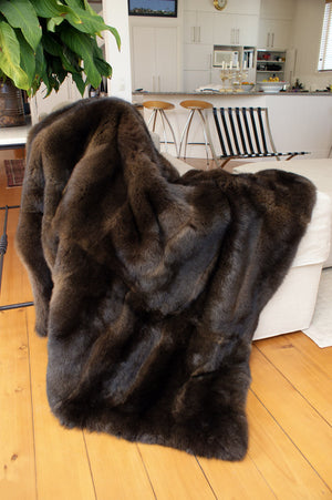 Chocolate Brown Possum Fur Throw