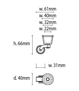 Round Metal Cup & Caster Wheels 32mm - Chrome Silver