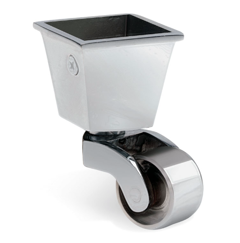 Square Cup & Caster Wheels 32mm - Chrome silver