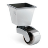 Image of Square Cup & Caster Wheels 32mm - Chrome silver