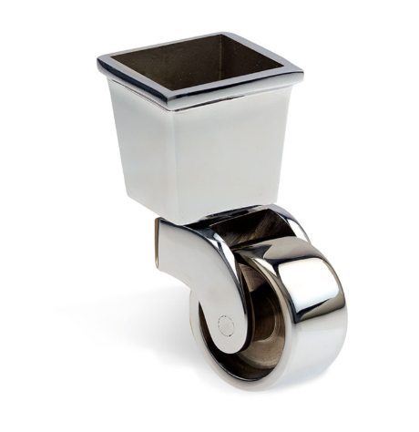 Square Cup & Caster Wheels 37mm - Chrome Silver