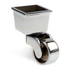 Image of Square Cup & Caster Wheels 45mm - Chrome Silver