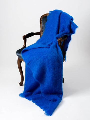 Cobalt Blue Mohair Chair Throw
