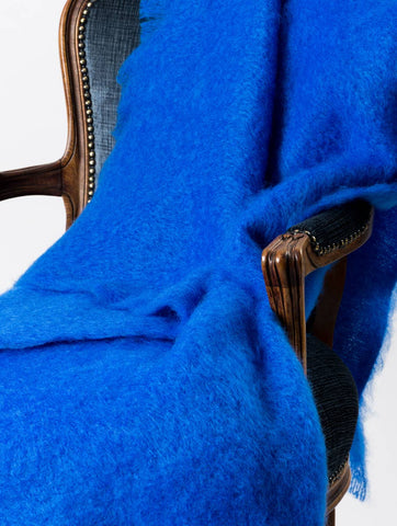 Image of Windermere cobalt bright blue mohair chair throw