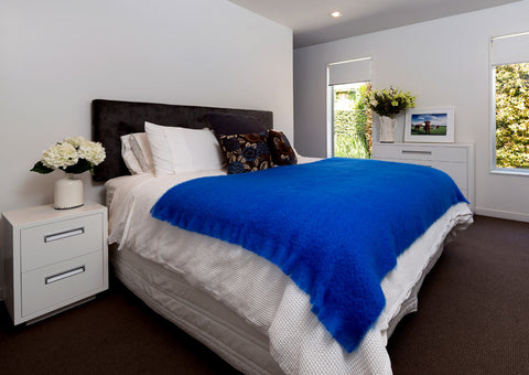 Windermere cobalt bright blue mohair throw blanket