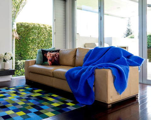 Image of Windermere cobalt bright blue mohair throw blanket