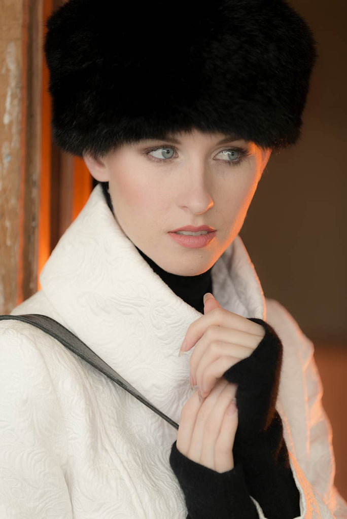 Russian Cossack Shorter Design Possum Fur Hat - Black