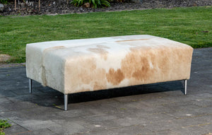 Cowhide Ottoman with Metal Legs 112x66x38cm