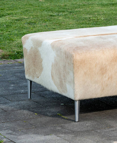 Beige & White Cowhide Ottoman with Metal Legs