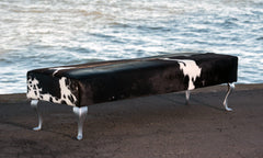 Cowhide Bench Ottoman with Queen Anne Legs 175x55x43.5cm