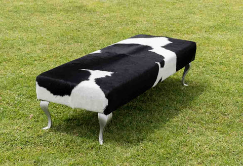 Cowhide Ottoman with Queen Anne Curved Aluminium Legs 160x55x40cm #2