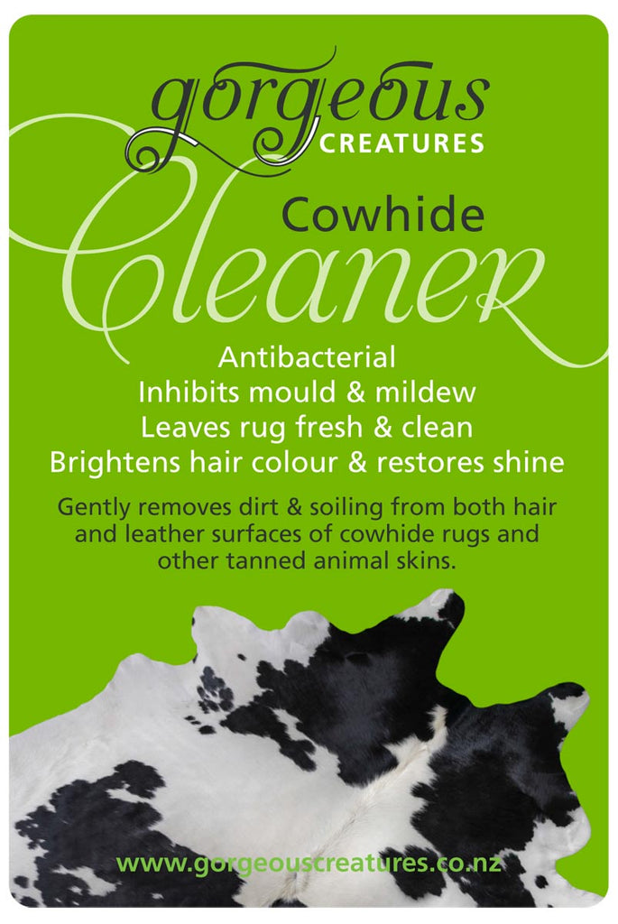 Gorgeous Creatures cowhide cleaner label