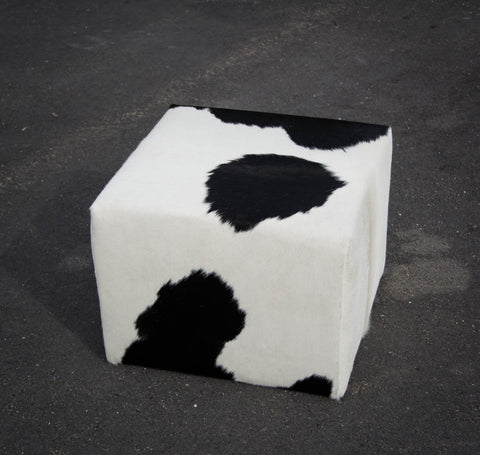 Image of Cowhide Cube #2 with Invisible Button Glides 50x50x40cm