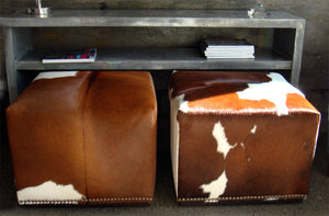 Cowhide Cube with Wood Feature Base and Studs 50x50x40cm