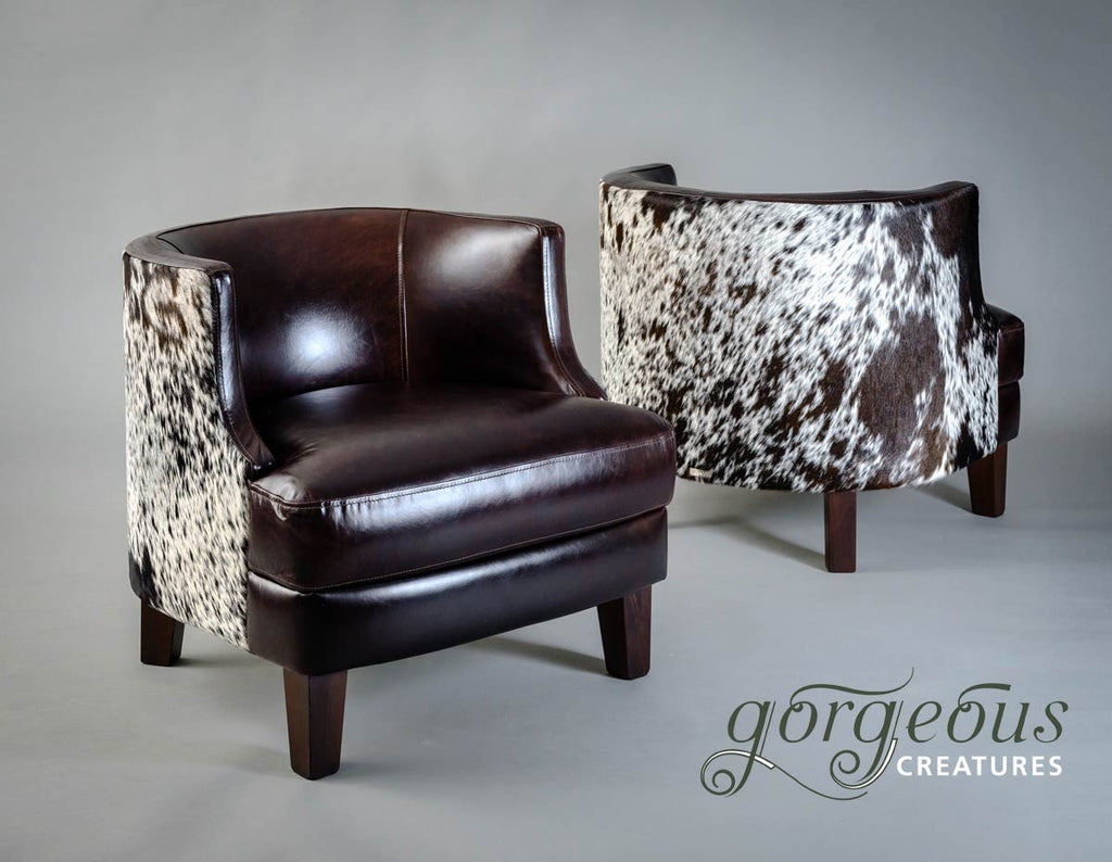 Leather & Cowhide Feature Tub Chair - Glossy Leather