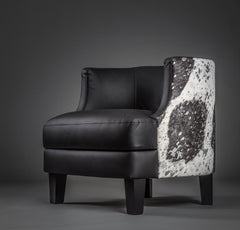Leather & Cowhide Feature Tub Chair - Matt Leather