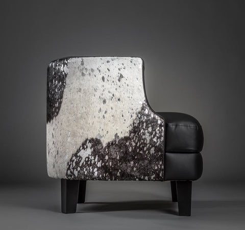 Image of Cowhide armchair black leather and metallic cowhide feature panel