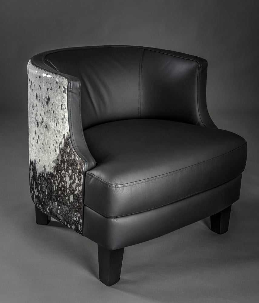 Cowhide armchair black leather and metallic cowhide feature panel