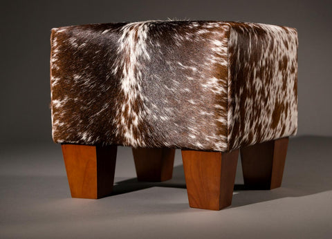 Image of Cowhide Cube Ottoman with Low Wooden Legs 40x40x35cm