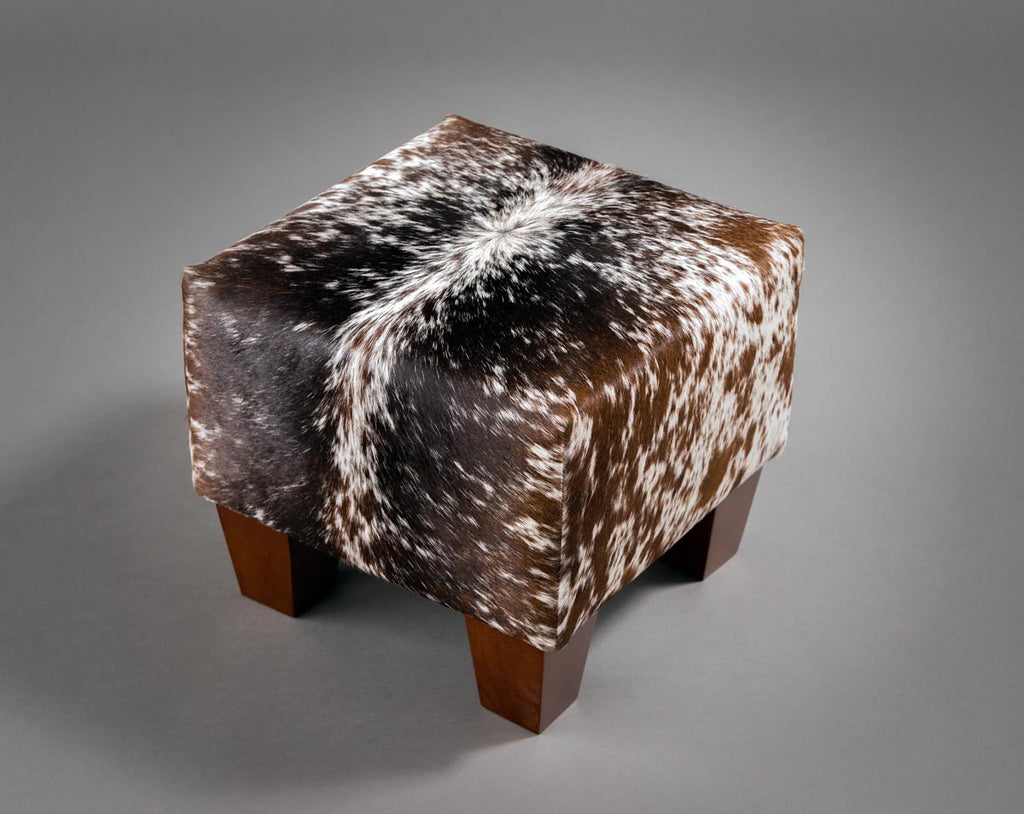 Cowhide Cube Ottoman with Low Wooden Legs 40x40x35cm