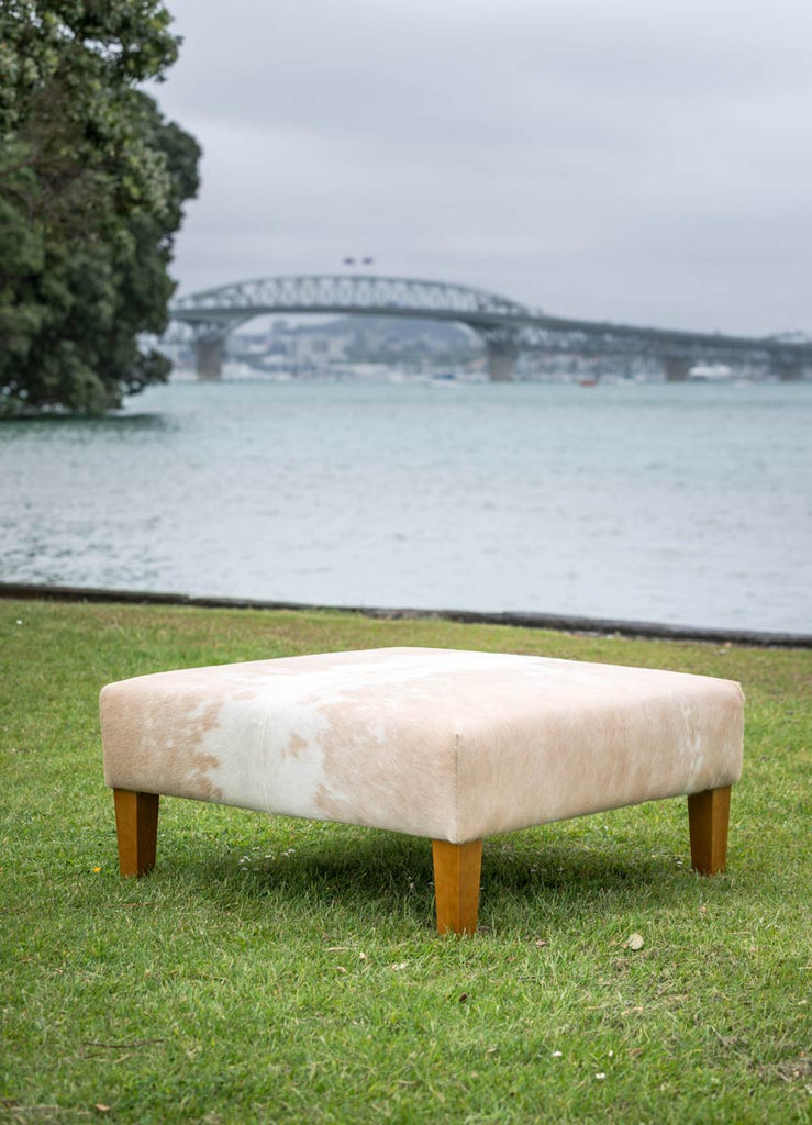 Beige And White Cowhide Ottoman With Wood Legs 90x90x40cm ...