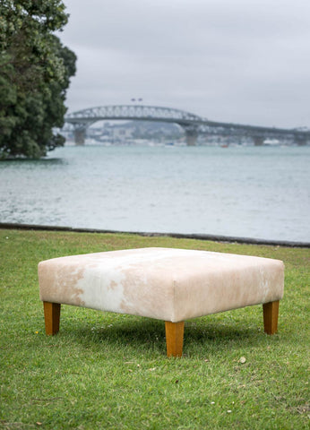 Image of Beige and White Cowhide Ottoman with Wood Legs 90x90x40cm