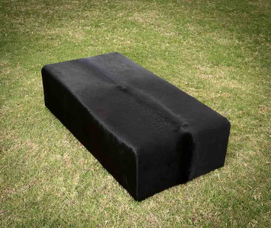Cowhide Ottoman Deep with Low Wood Legs 120x60x35cm