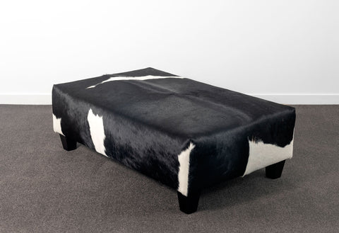 Black and white cowhide ottoman furniture