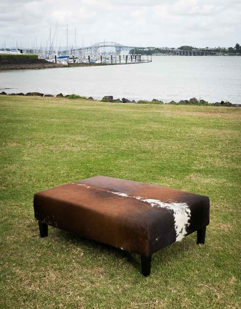 Cowhide Ottoman New Zealand with Wood Legs 120x80x40cm