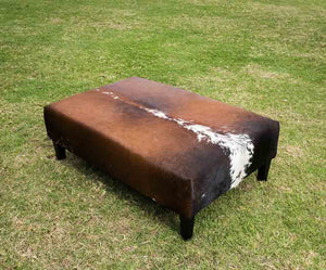 Cowhide Ottoman with Wood Legs 120x80x40cm