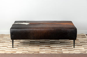 Brown Cowhide Ottoman with Straight Legs 120x80x38cm