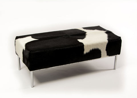 Black & White Cowhide Ottoman with Metal Rail Base 110x50x40cm